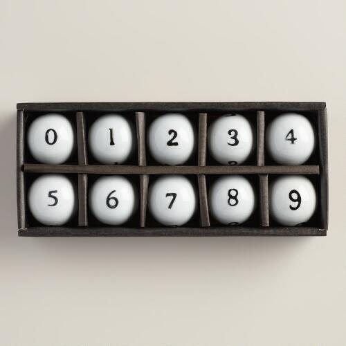 Ceramic Number Balls, Set of 10