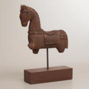 Handcarved Wooden Horse on Base