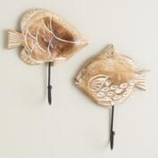 Wood Fish Wall Hooks, Set of 2