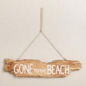 Wood Gone To Beach Sign