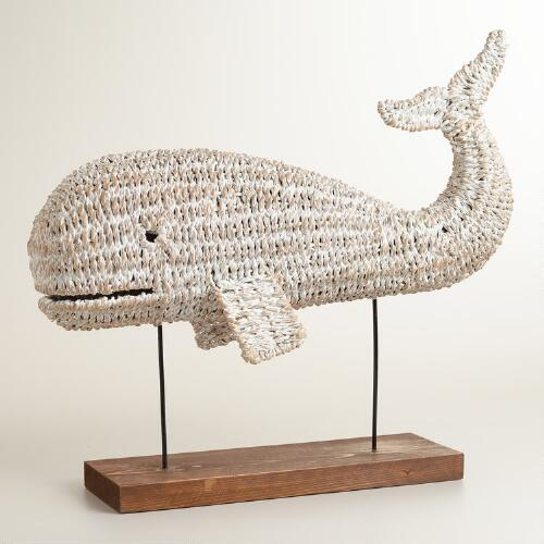 Whitewashed Woven Whale on Stand