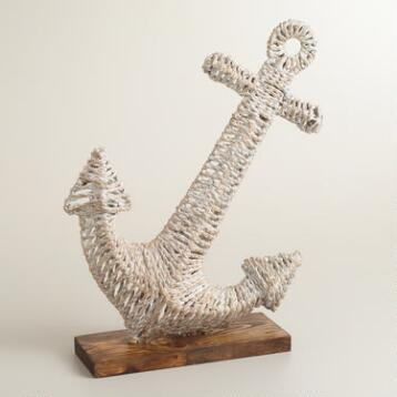 Whitewashed Woven Anchor on Stand