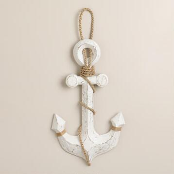 Whitewashed Wood Anchor Decor