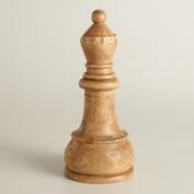 Carved Wood Queen Chess Piece Decor