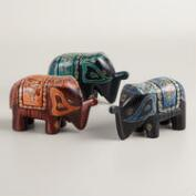 Batik Wood Elephant, Set of 3