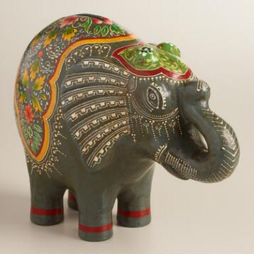 Ivory Hand-Painted Elephant Money Bank