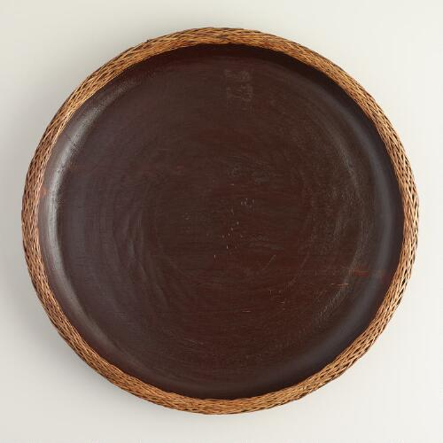 Carved Wood Tray with Lombok Weave