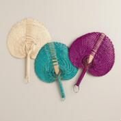 Handwoven Pandan Fans, Set of 3