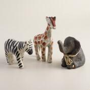 Small Papermache Animals, Set of 3