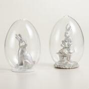 Glass Cloches with Bunnies, Set of 2