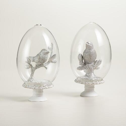 Glass Cloches with Birds, Set of 2