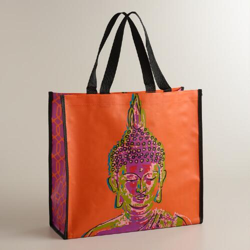 Orange Buddha Print Tote
