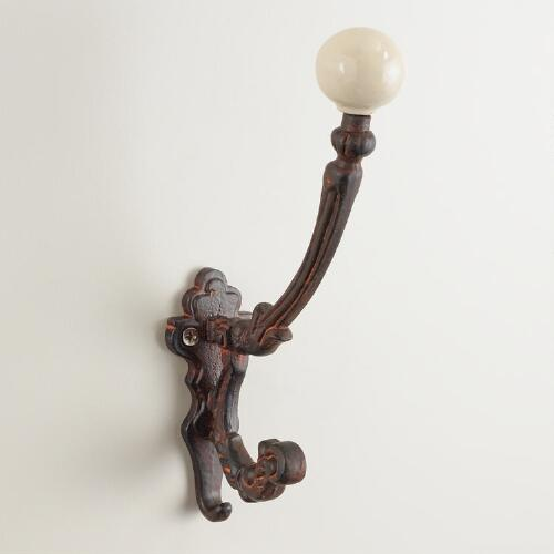 White Ceramic and Iron Double Wall Hook