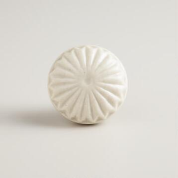 White Embossed Ceramic Knobs, Set of 2