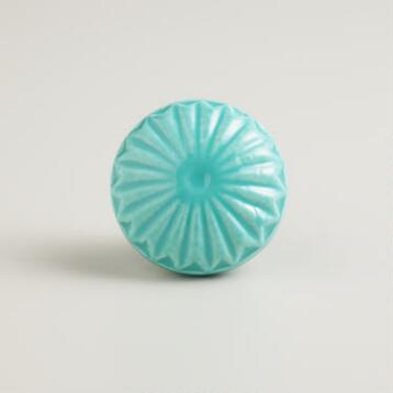 Blue Embossed Ceramic Knobs, Set of 2