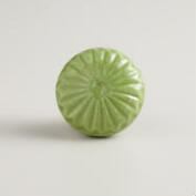 Green Embossed Ceramic Knobs, Set of 2