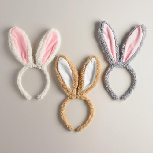 Plush Bunny Ear  Easter Headbands, Set of 3