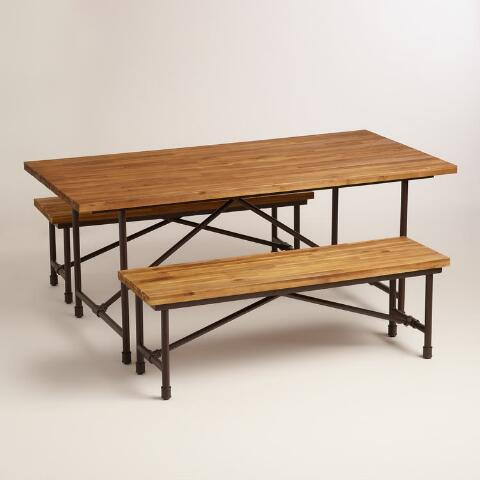Wood And Metal Kairi Outdoor Dining Table World Market