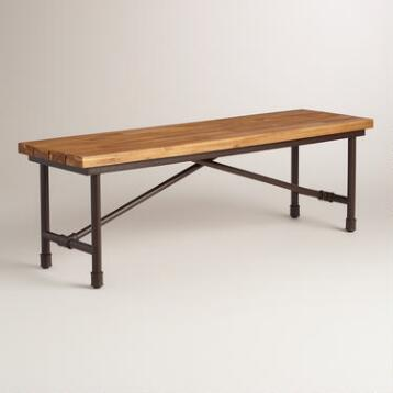 Wood and Metal Kairi Outdoor Dining Bench