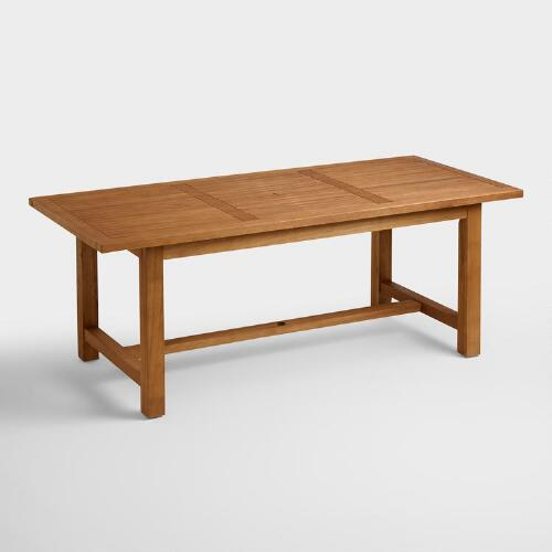 Wood praiano outdoor dining table world market for Outdoor wood dining chairs