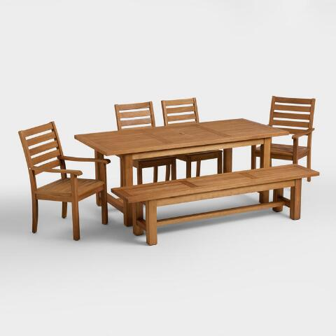 Wood praiano outdoor dining table world market for World best dining tables