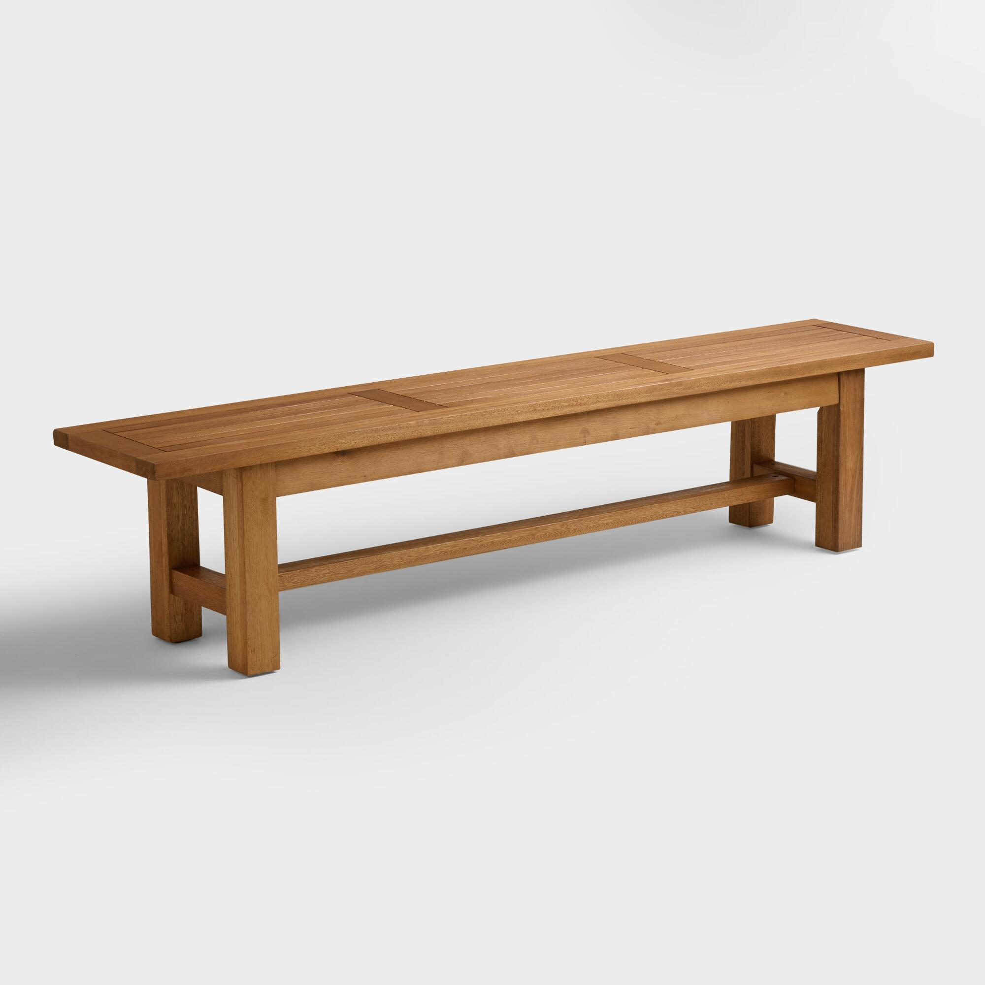Wood Praiano Outdoor Dining Bench World Market