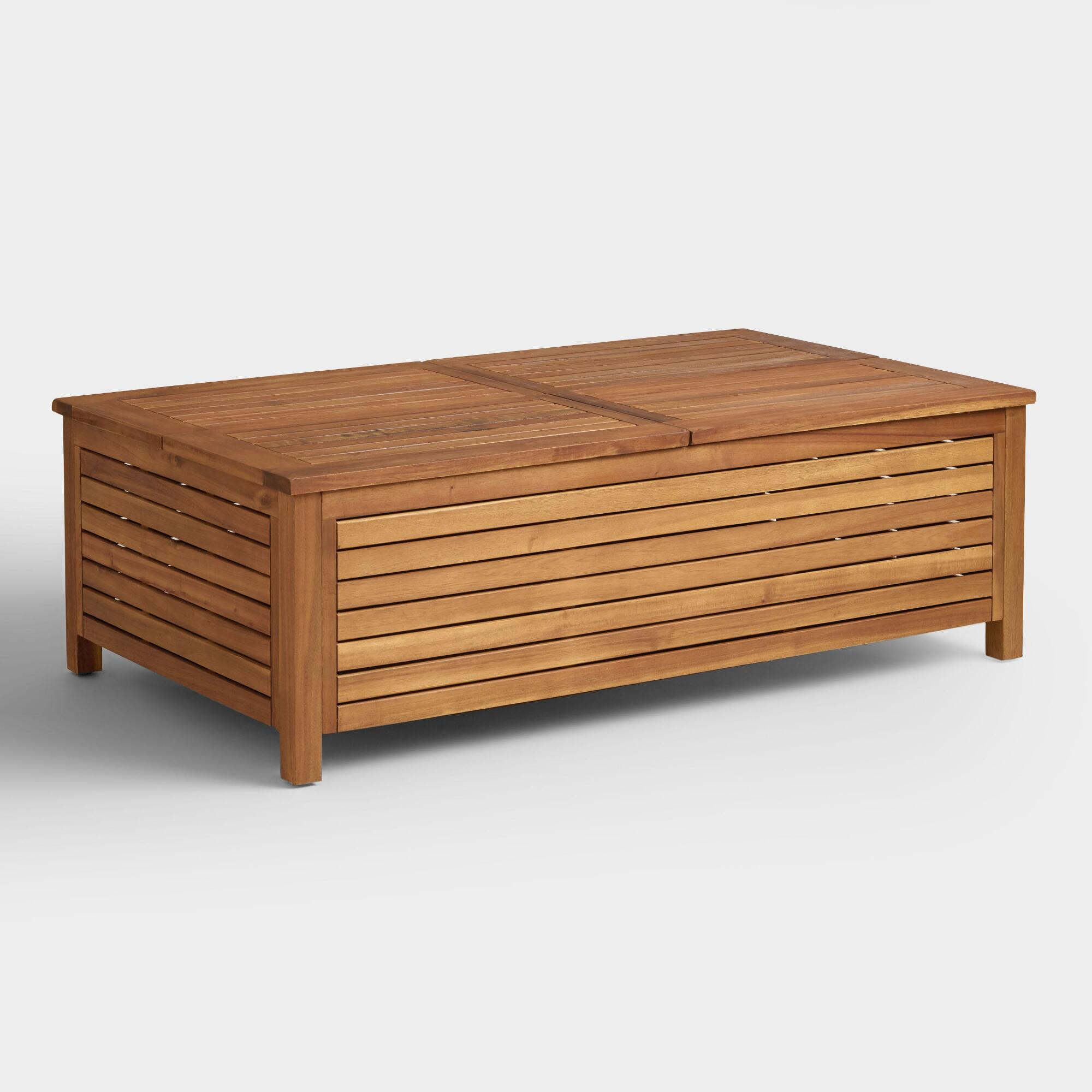 Wood praiano outdoor storage coffee table world market One of a kind coffee tables