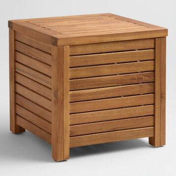 Wood Praiano Outdoor Storage Side Table