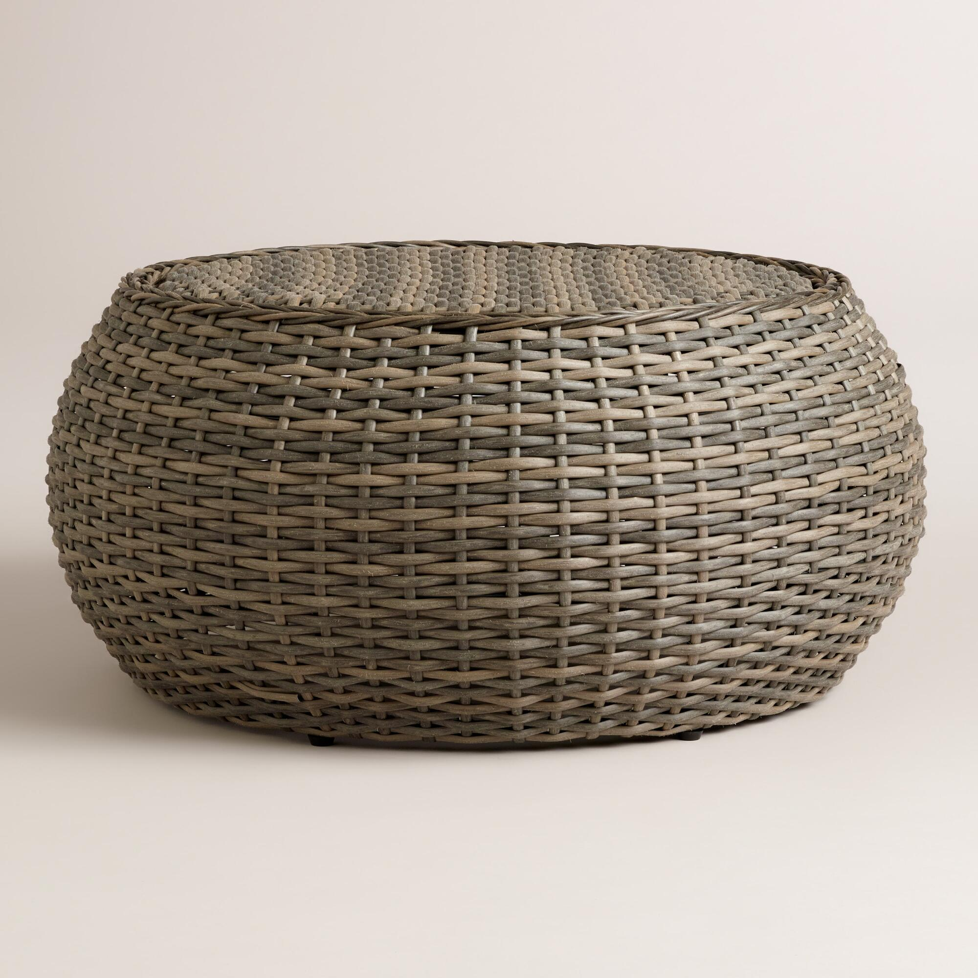 All weather wicker formentera egg coffee table world market Coffee table with wicker baskets