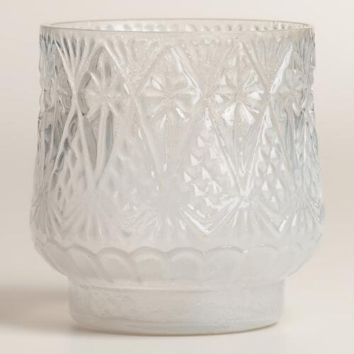 White Opaque Glass Votive Candleholders, Set of 2