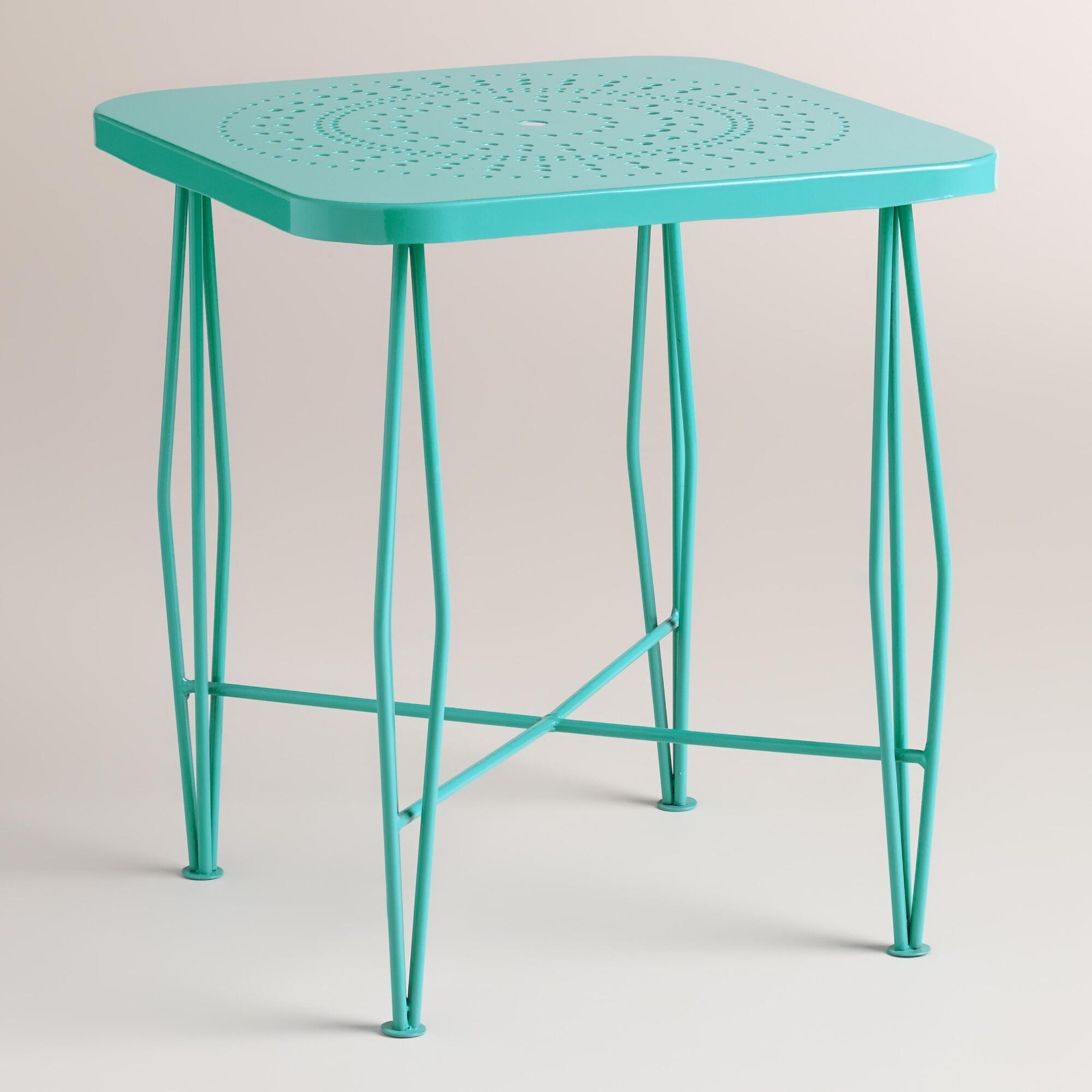 Blue metal alyssa hairpin outdoor side table world market for Outdoor patio side tables
