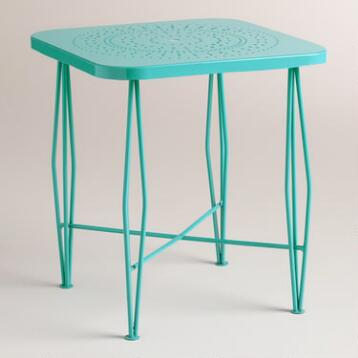 Blue Metal Alyssa Hairpin Outdoor Side Table