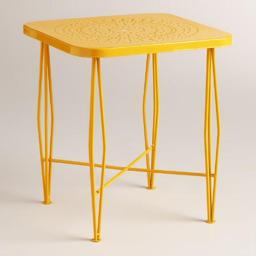 Yellow Metal Alyssa Outdoor Hairpin Side Table