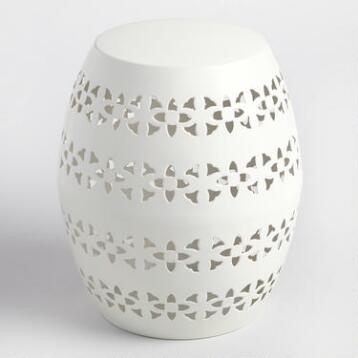 White Floral Metal Sonia Drum Stool