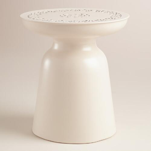 White Metal Dimitri Outdoor Stool