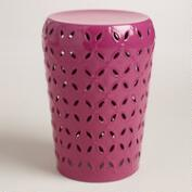 Fuchsia Punched Metal Lili Outdoor Stool