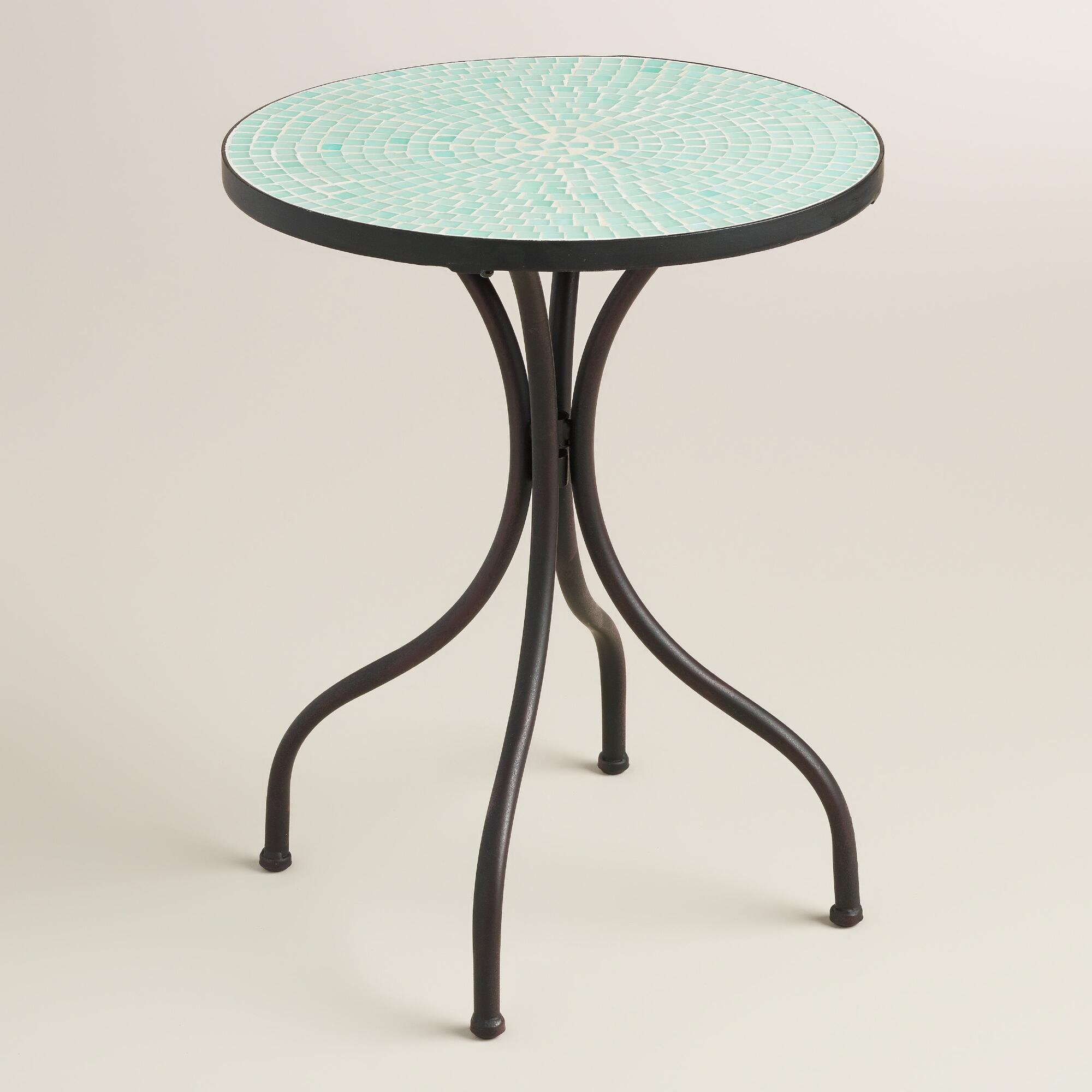 Round White Marble Milan Accent Table By World Market: Light Blue Cadiz Accent Table