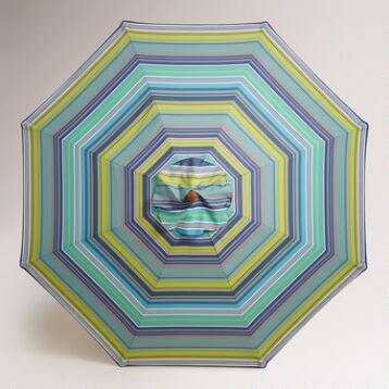 Cote Blue Striped 9' Umbrella Canopy