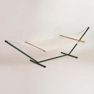 Rope Hammock with Metal Stand