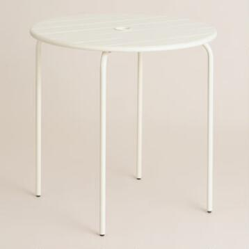 Antique White Metal Ronan Outdoor Bistro Table
