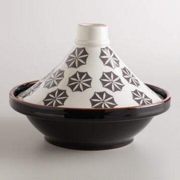 Black and White Stamped Terracotta Tagine