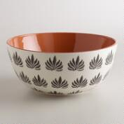 Black and White Stamped Terracotta Salad Bowl