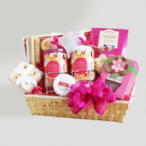 Pretty and Pink Mimosa Spa Valentine Gift Basket
