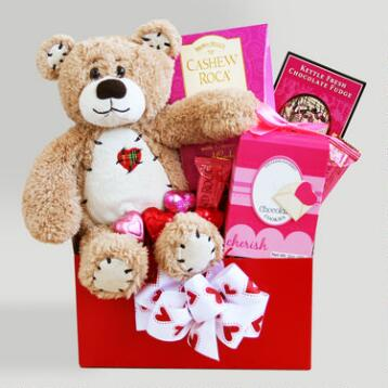 Teddy Bear Hugs Valentine Gift Basket
