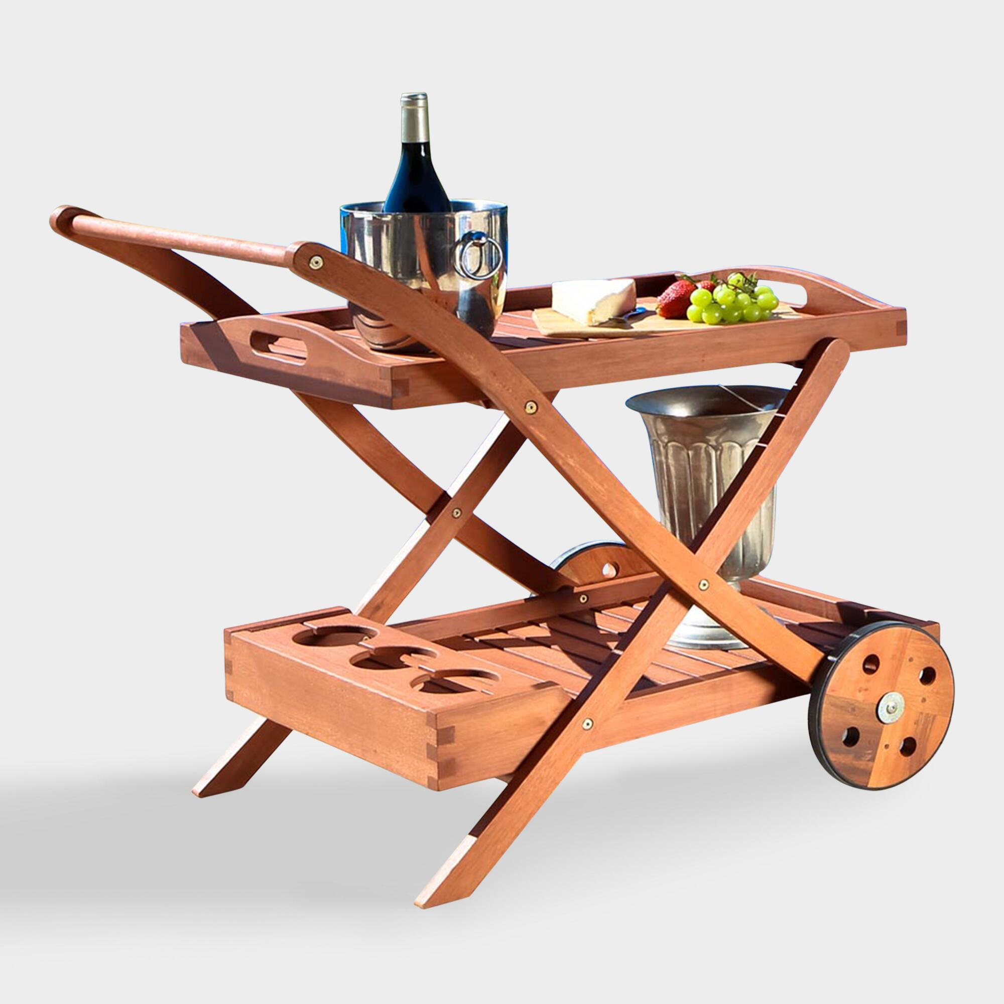 Wood Serving Cart ~ Eucalyptus wood serving cart world market