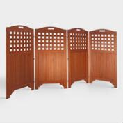 Acacia Wood Outdoor 4-Panel Screen
