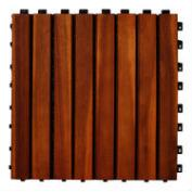 Acacia Wood 8-Slat Interlocking Deck Tiles, 10-Count