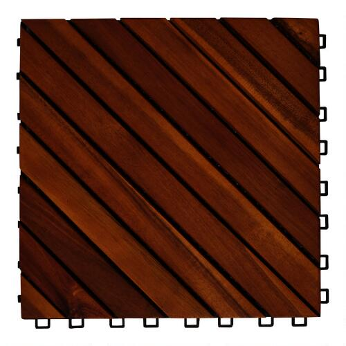 Acacia Wood 12-Slat Interlocking Deck Tiles, 10-Count