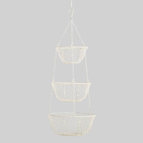 Antique White Wire Three-Tier Hanging Basket