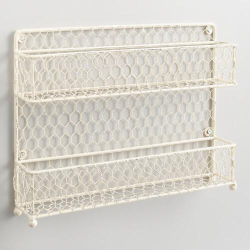 Antique White Wire Two-Tier Spice Rack